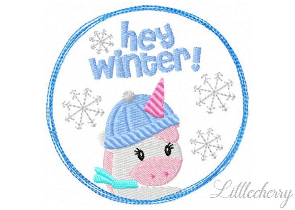 Winter Unicorn Doodle Button