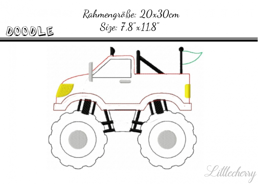 Doodle Monstertruck 7,8' x 11,8'